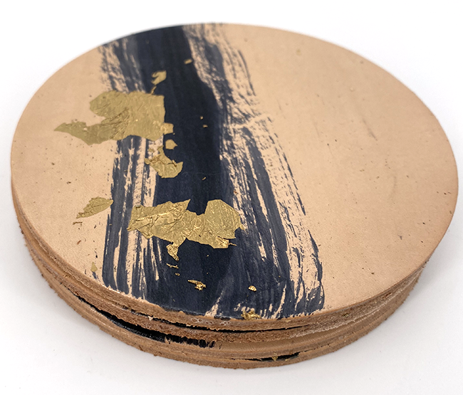 Painted Leather Coasters