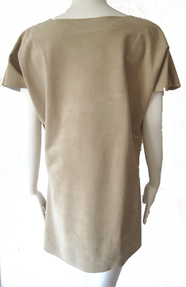 the Crew Neck Suede Leather Dress
