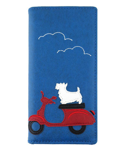 Dog on Scooter Wallet - Grape Cat