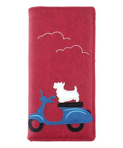 Dog on Scooter Wallet by Grape Cat Vegan Clothing Brand