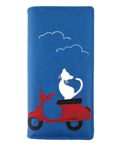 Cat on Scooter Wallet - Grape Cat Vegan Clothing Brand
