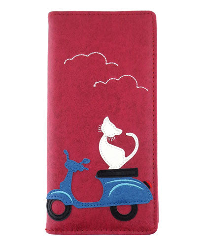 Cat on Scooter Wallet by Grape Cat Vegan Clothing Brand