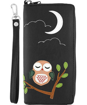 Owl Wristlet, Wallet, Lavishy - Vegan Grape Cat
