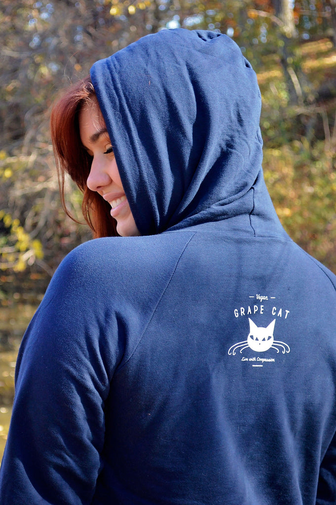 Love, Peace, and Compassion Sweatshirt - Grape Cat - 2