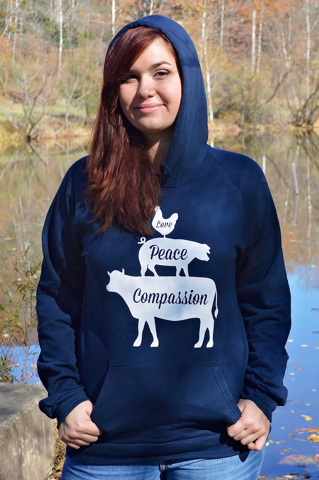 Love, Peace, and Compassion Sweatshirt - Grape Cat - 1