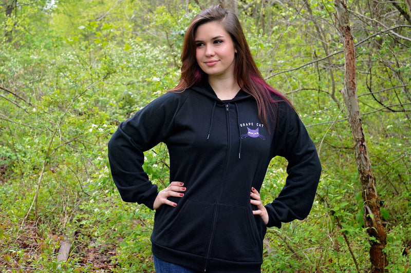 Grape Cat Logo Hoodie by Grape Cat Vegan Clothing Brand