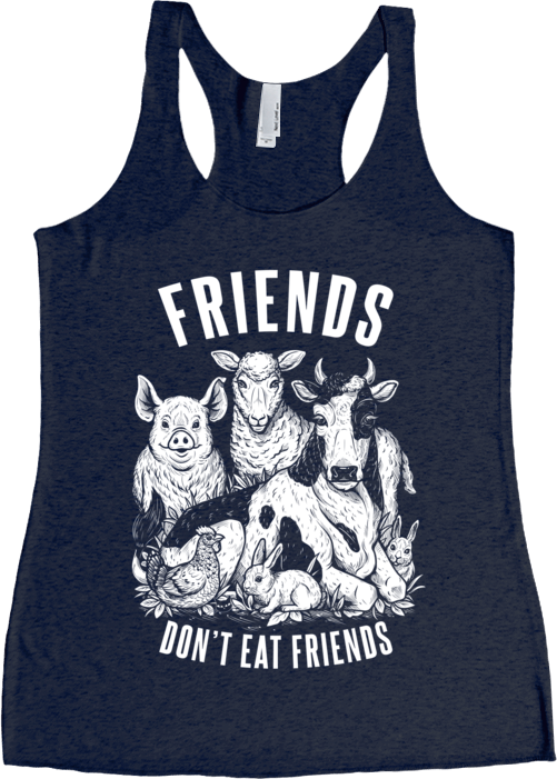 Friends Don't Eat Friends Tank Top by Grape Cat Vegan Clothing Brand