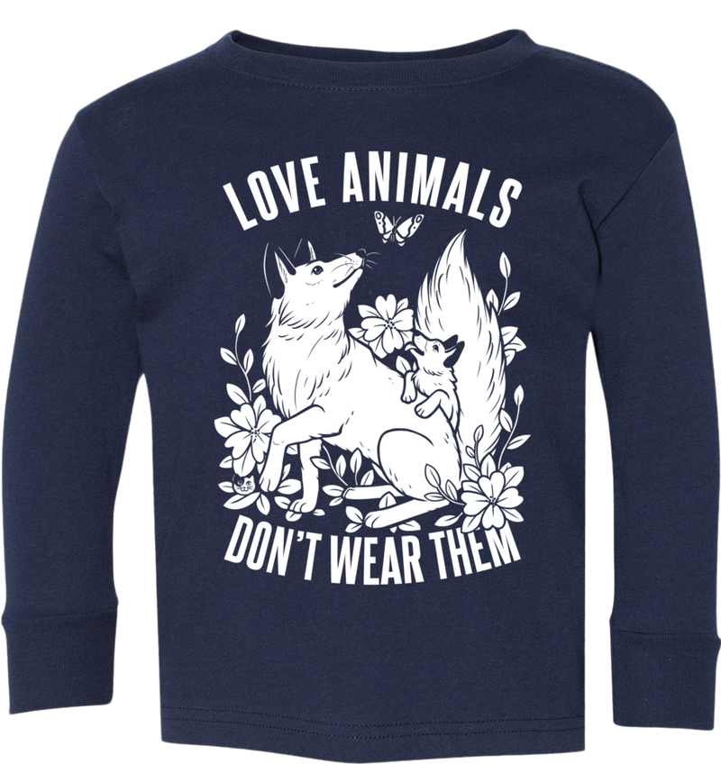 Love Animals Fox Kids Long Sleeve by Grape Cat Vegan Clothing Brand