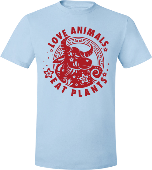 Love Animals - Year of the Ox Light T-Shirt by Grape Cat Vegan Clothing Brand