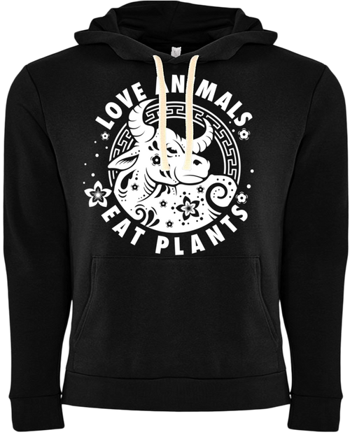 Love Animals - Year of the Ox Hoodie by Grape Cat Vegan Clothing Brand