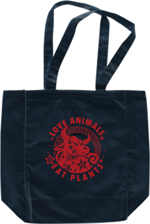 Love Animals - Year of the Ox Tote by Grape Cat Vegan Clothing Brand