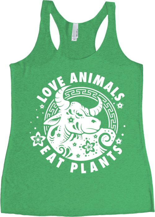 Love Animals - Year of the Ox Women's Tank Top by Grape Cat Vegan Clothing Brand