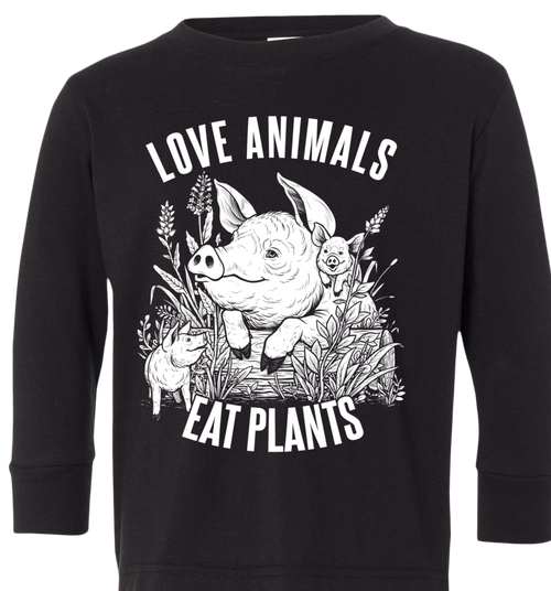Love Animals Kids Long Sleeve T-Shirt by Grape Cat Vegan Clothing Brand