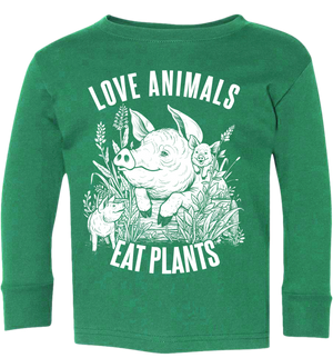Love Animals Kids Long Sleeve T-Shirt - Grape Cat