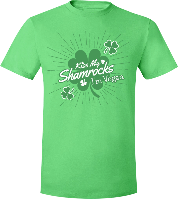 Kiss My Shamrocks. I'm Vegan T-Shirt - Grape Cat