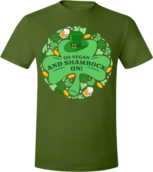 Go Vegan and Shamrock On! T-Shirt by Grape Cat Vegan Clothing Brand