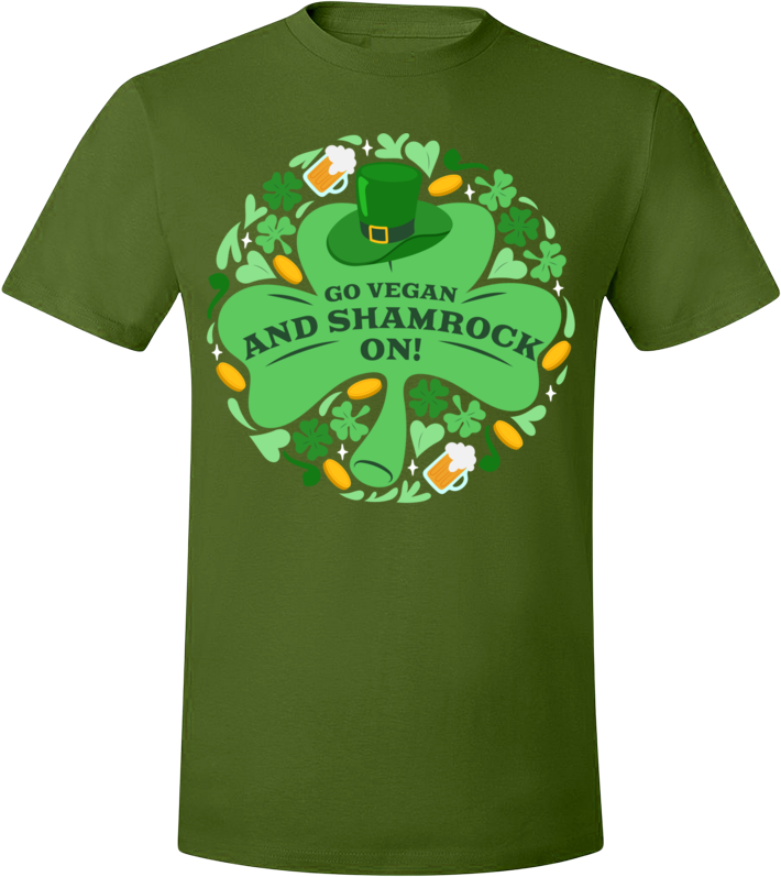 Go Vegan and Shamrock On! T-Shirt - Grape Cat