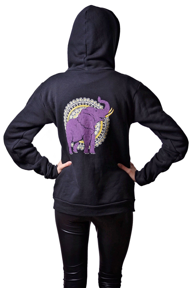 African Elephant RPET Hoodie - Grape Cat Vegan Clothing Brand