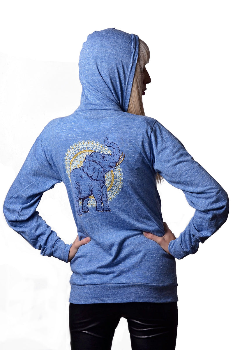 African Elephant Hoodie - Grape Cat Vegan Clothing Brand