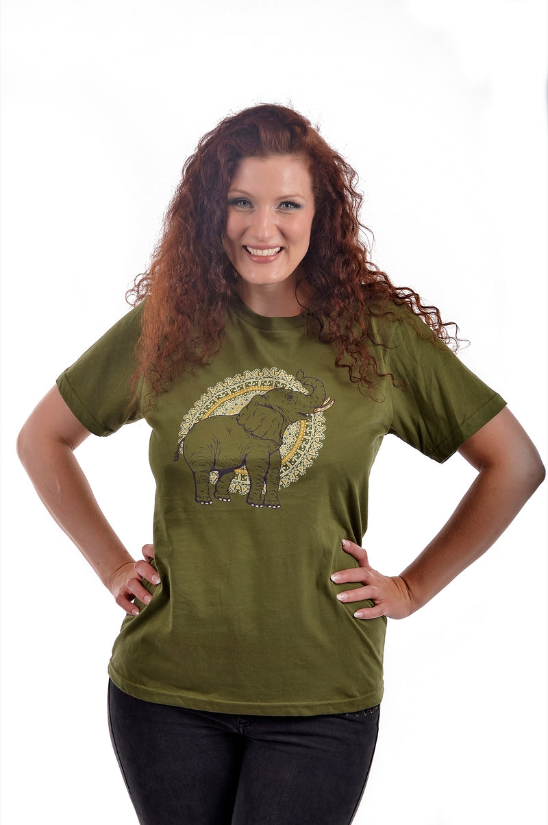 African Elephant T-Shirt by Grape Cat Vegan Clothing Brand