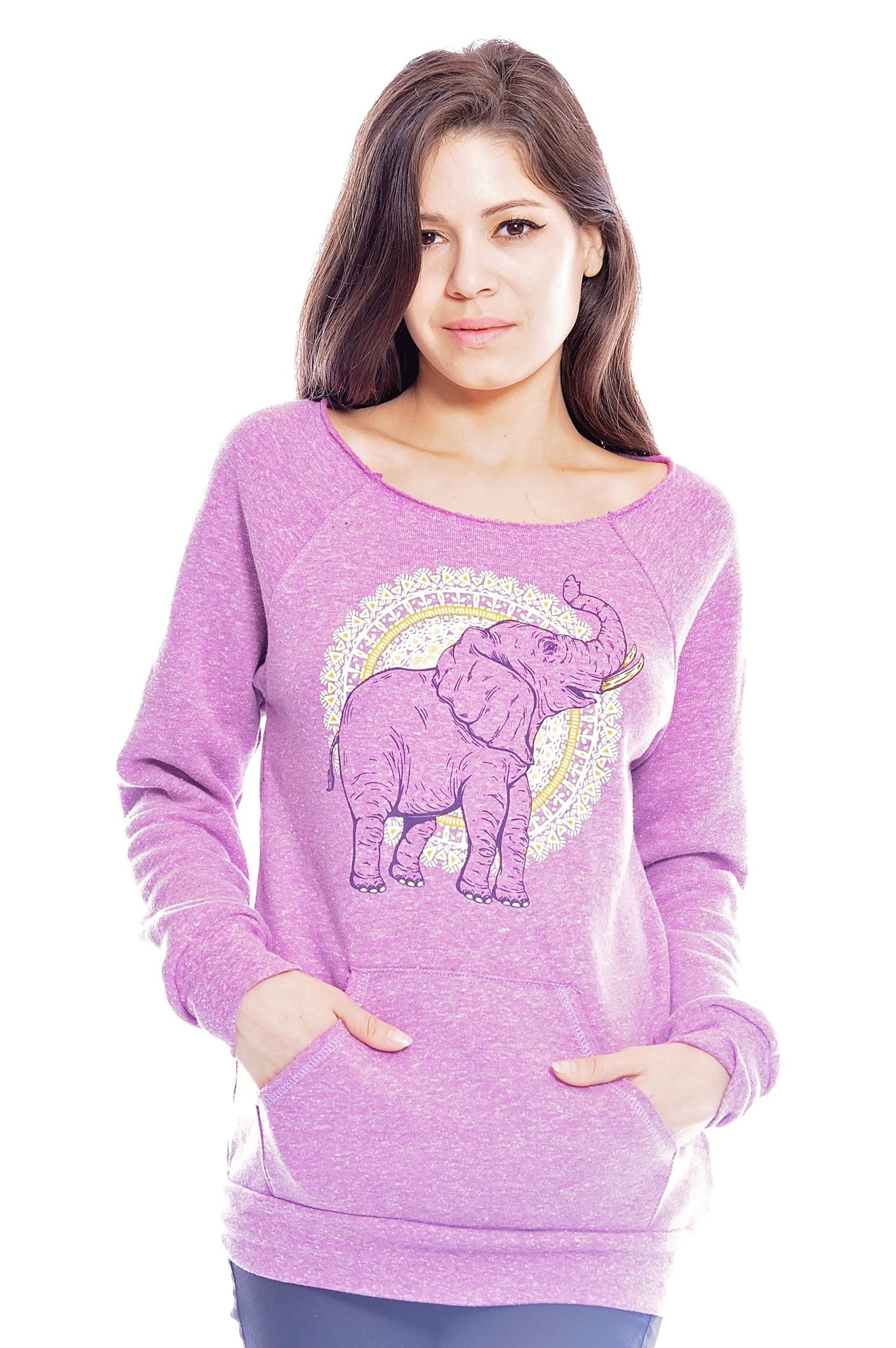 African Elephant Vegan Sweatshirt - Grape Cat