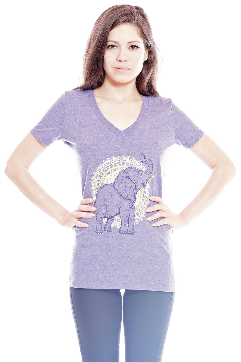 African Elephant V-Neck - Grape Cat