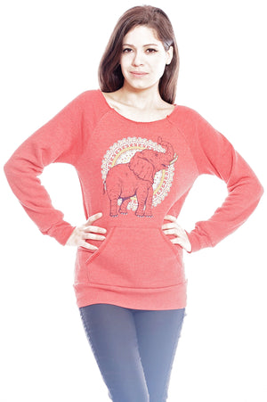 African Elephant Raglan, Sweatshirt, Grape Cat - Vegan Grape Cat