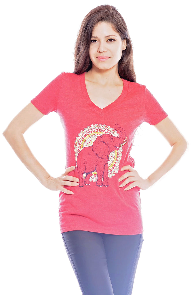 African Elephant V-Neck, T-Shirt, Grape Cat - Vegan Grape Cat