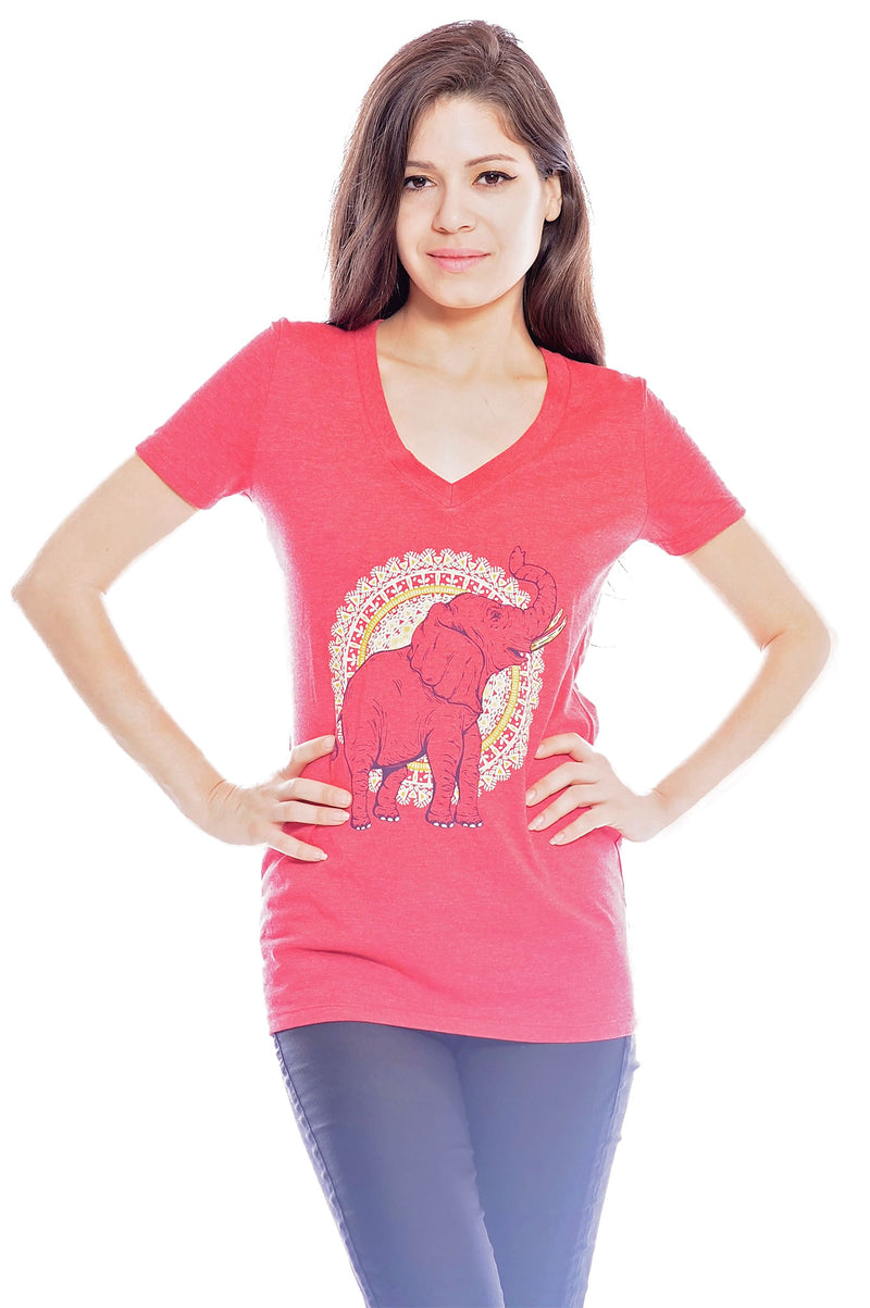 African Elephant V-Neck by Grape Cat Vegan Clothing Brand