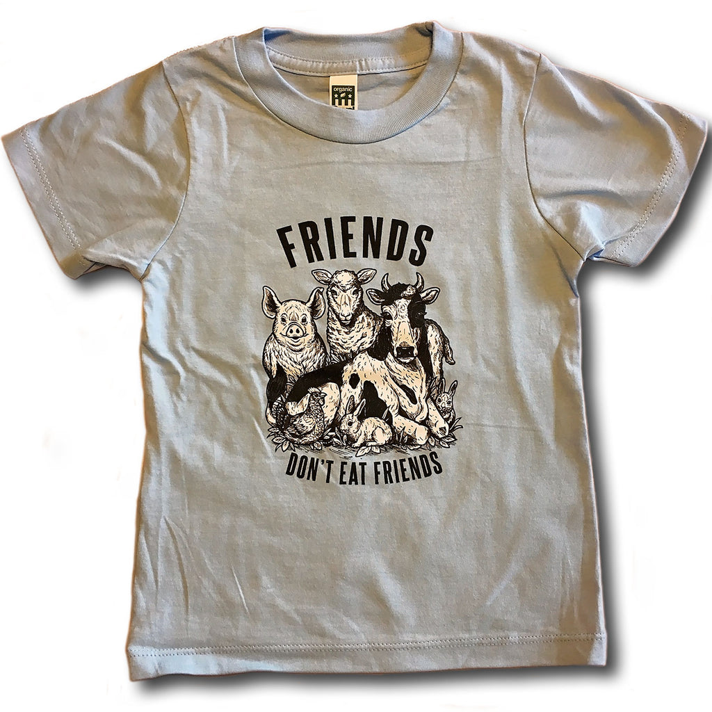 Friends Don't Eat Friends Kids T-Shirt, T-Shirt, Grape Cat - Vegan Grape Cat