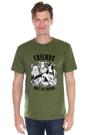 Friends Don't Eat Friends T-Shirt - Grape Cat Vegan Clothing Brand