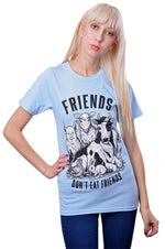 Friends Don't Eat Friends T-Shirt by Grape Cat Vegan Clothing Brand