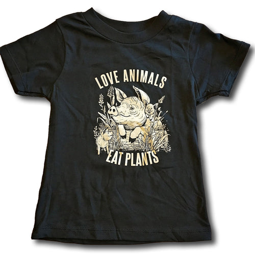 Love Animals Kids T-Shirt by Grape Cat Vegan Clothing Brand