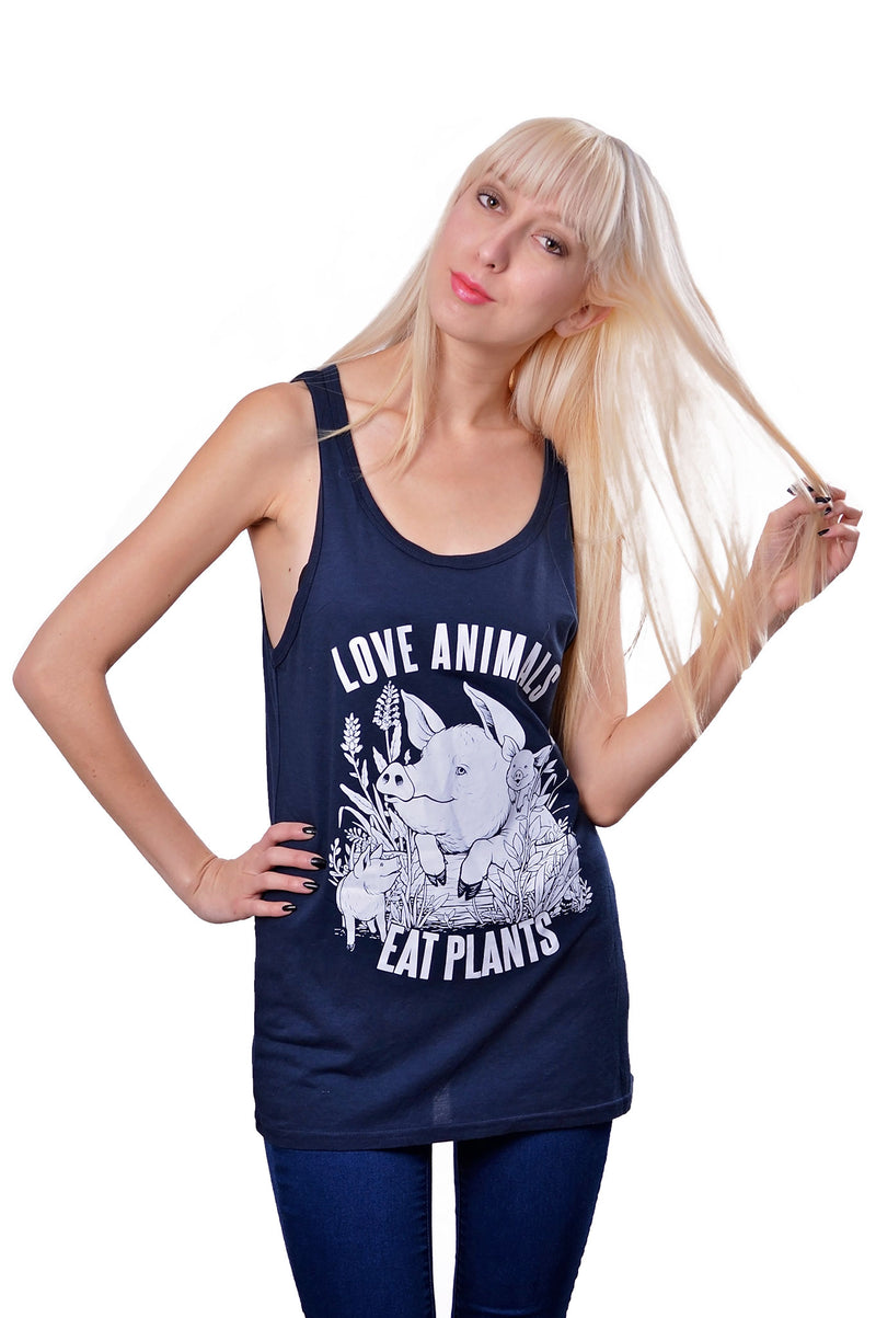 Love Animals Bamboo Tank Top - Grape Cat Vegan Clothing Brand