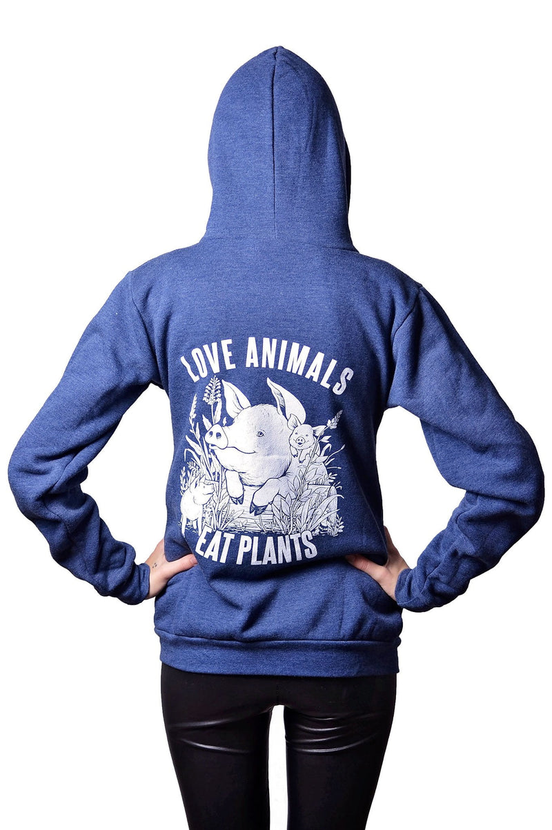 Love Animals RPET Hoodie by Grape Cat Vegan Clothing Brand