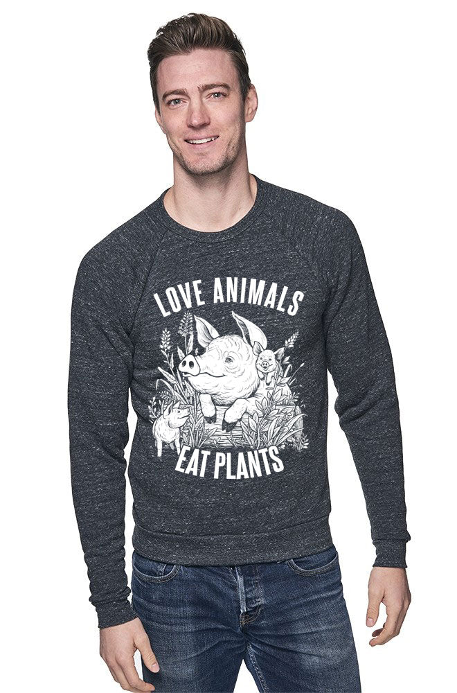 Love Animals Unisex Raglan by Grape Cat Vegan Clothing Brand