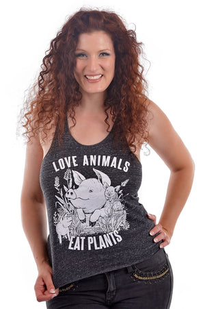 Love Animals Tank Top, Tank Top, Grape Cat - Vegan Grape Cat