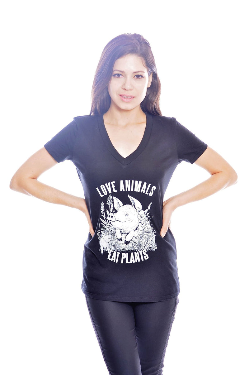 Love Animals, Eat Plants V-Neck by Grape Cat Vegan Clothing Brand