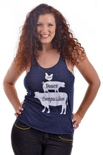 Love, Peace, and Compassion Tri-Blend Tank Top by Grape Cat Vegan Clothing Brand