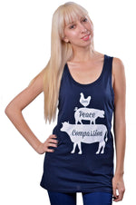 Love, Peace, Compassion Bamboo Tank Top by Grape Cat Vegan Clothing Brand