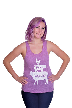 Love, Peace, and Compassion Tri-Blend Tank Top - Grape Cat