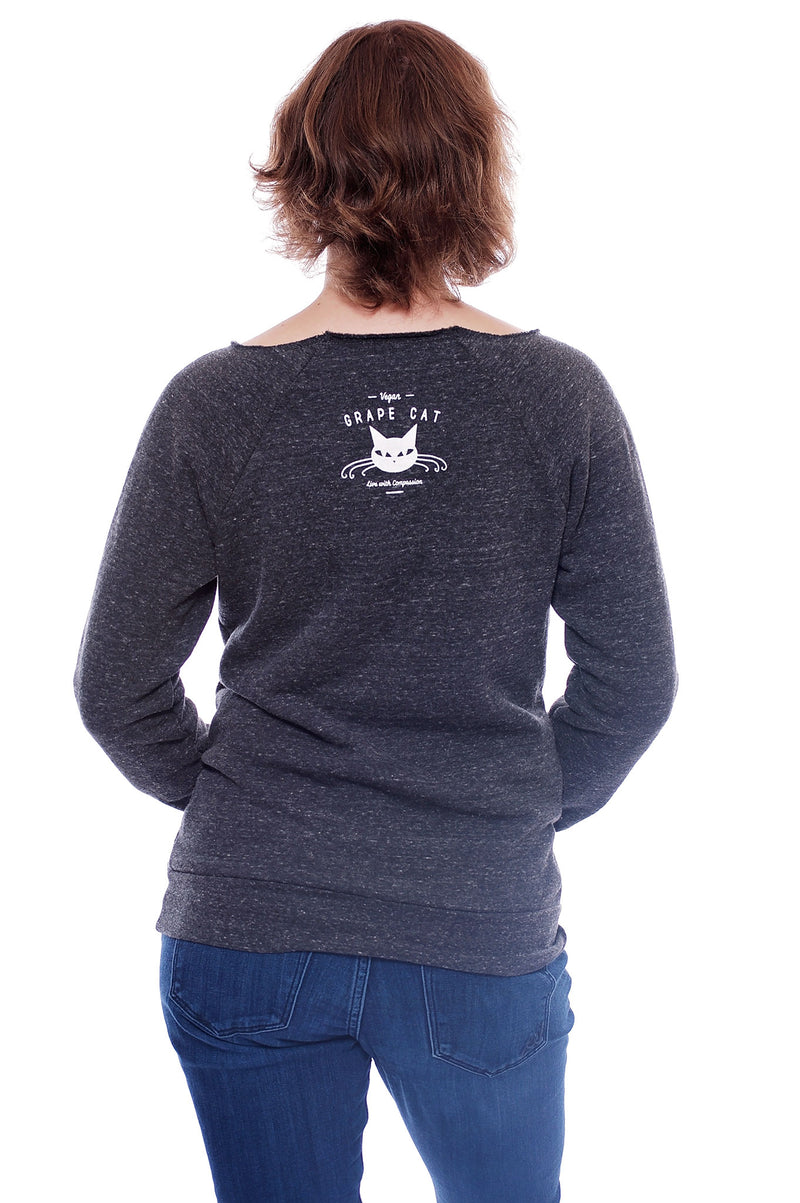 Love, Peace, Compassion Vegan Sweatshirt by Grape Cat Vegan Clothing Brand