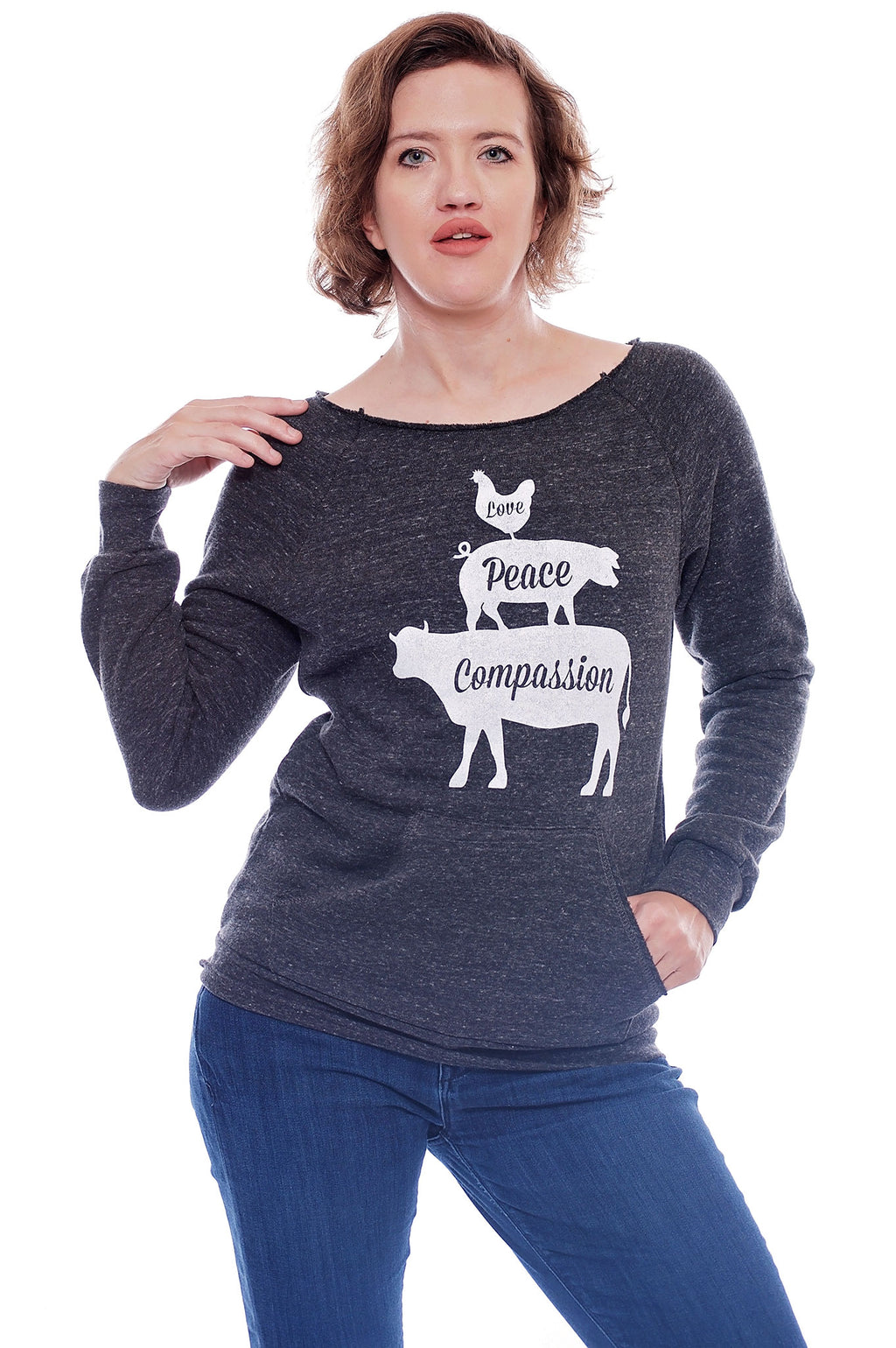 Love, Peace, Compassion Raglan - Grape Cat