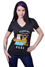 Year of the Dog V-Neck by Grape Cat Vegan Clothing Brand