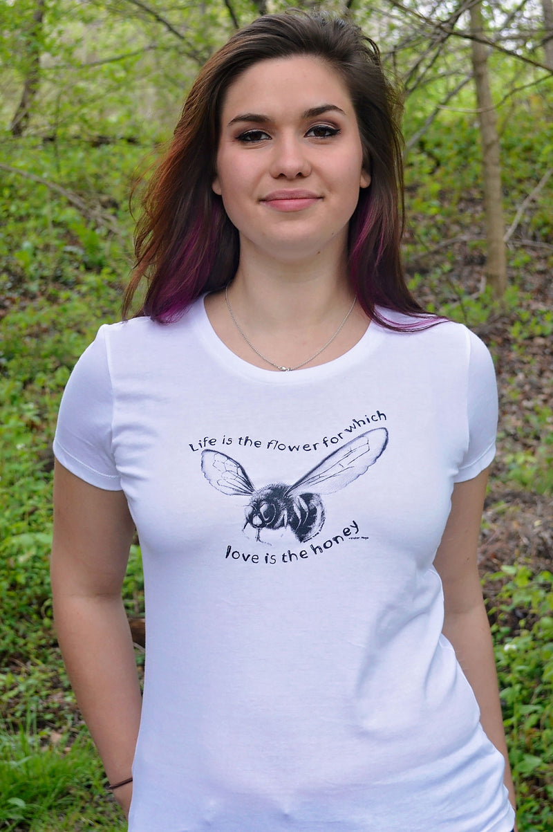 Life is the flower for which love is the honey - Grape Cat Vegan Clothing Brand