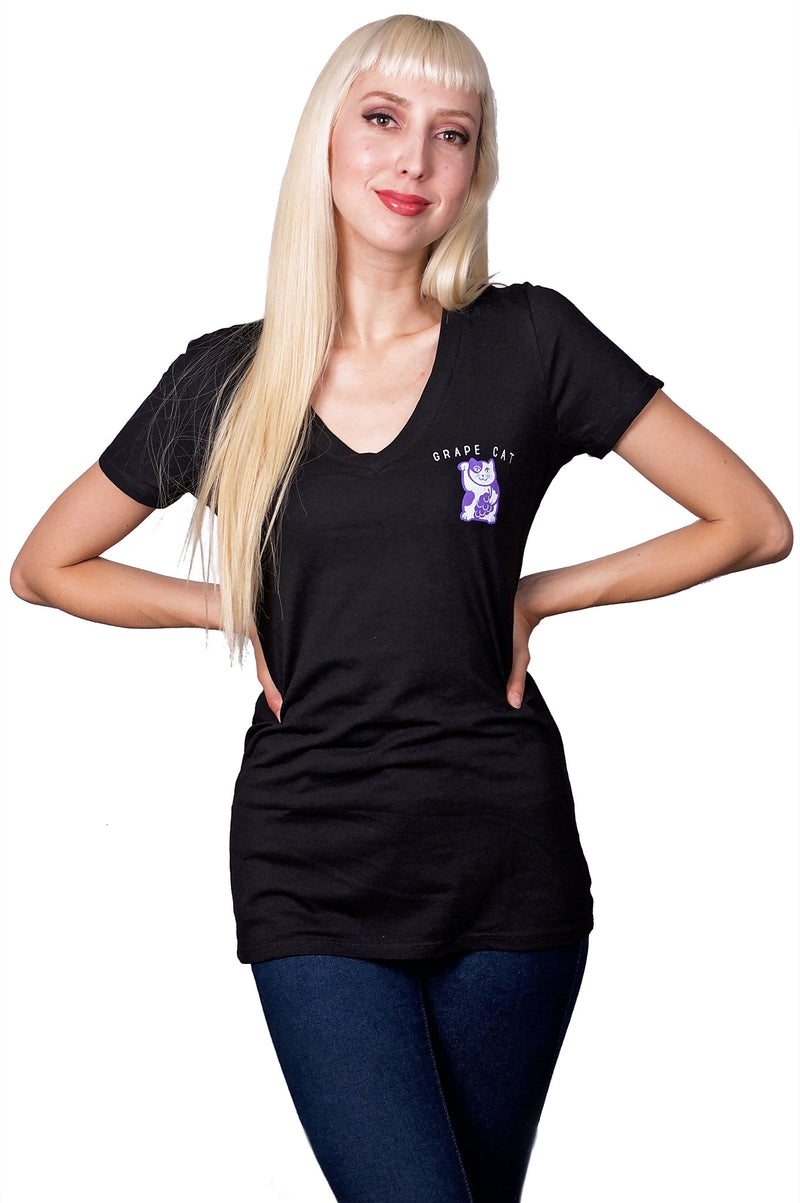 Grape Cat Logo V-Neck, T-Shirt, Grape Cat - Vegan Grape Cat