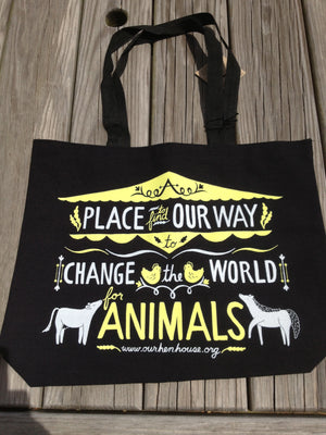 Our Hen House Tote Bag, Bags, Our Hen House - Vegan Grape Cat