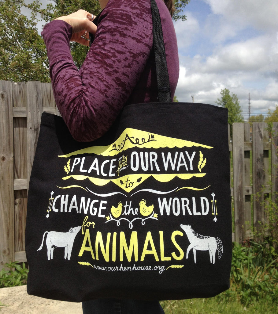Our Hen House Tote Bag - Grape Cat - 3