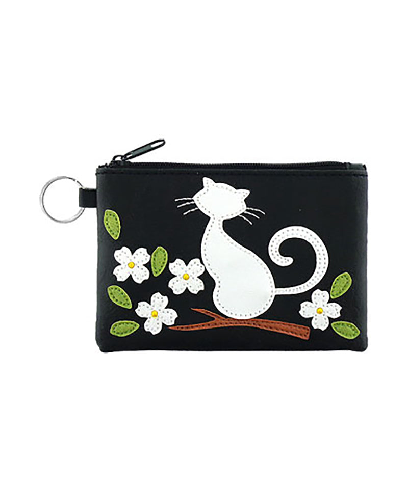 Cat on Flower Coin Purse - Grape Cat