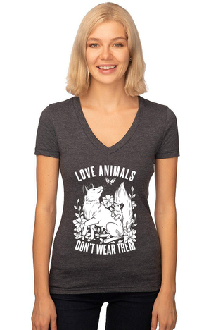 Love Animals, Don't Wear Them V-Neck - Grape Cat Vegan Clothing Brand